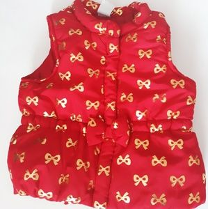 Baby Girl's Healthtex Red & Gold Bow Puffy Vest